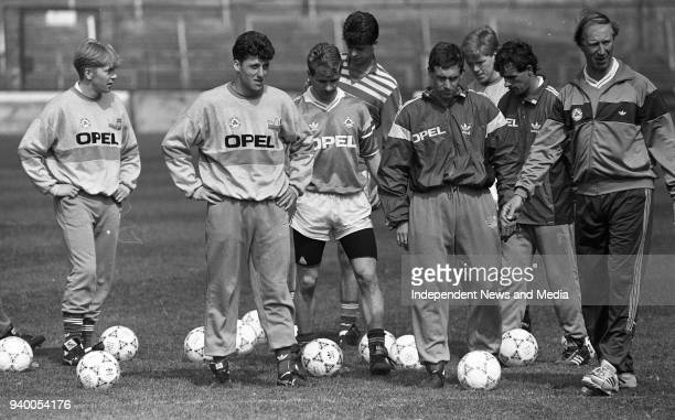 Gary Waddock, Andy Townsend, Chris Morris, Niall Quinn, Kevin Sheedy, and Kevin Moran line up for Shooting Practice with Jack Charlton starting off...