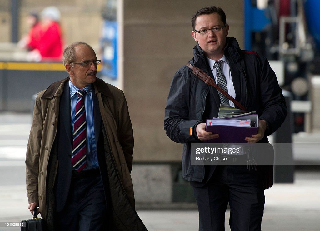 Gary Walker (R), former chief executive of the United Lincolnshire hospitals NHS trust, arrives at the Health Select Committee, at Portcullis House on November 1, 2012 in London, England. The NHS whistleblower, who is today giving evidence to the committee, claims he was sacked from his post over raising concerns over patient safety and high patient mortality rates.
