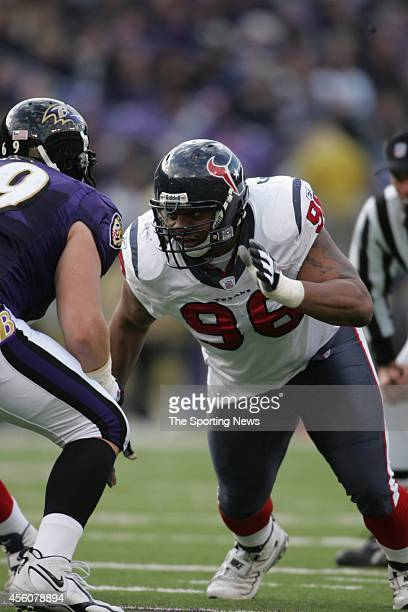 Gary Walker of the Houston Texans in action during a game against the Baltimore Ravens on December 4 2005 at the MT Bank Stadium in Baltimore Maryland