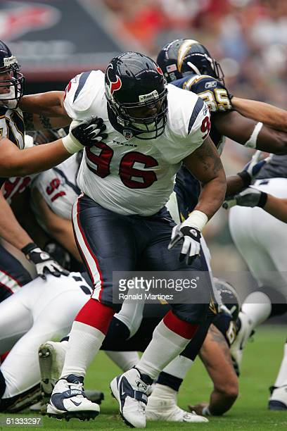 Gary Walker of the Houston Texans moves on the field during the game against the San Diego Chargers on September 12, 2004 at Reliant Stadium in...