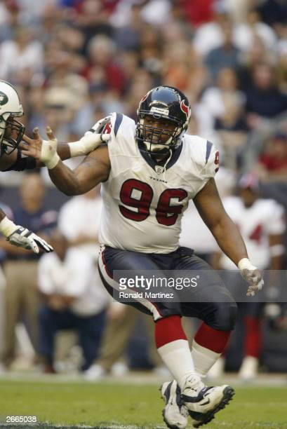 Gary Walker of the Houston Texans prepares to tackle against the New York Jets at Reliant Stadium on October 19 2003 in Houston Texas The Jets...