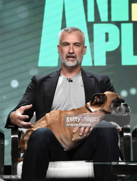 Gary Walters with Duncan of 'Amanda to the Rescue' speaks onstage during the Animal Planet portion of the Discovery Communications Summer TCA Event...