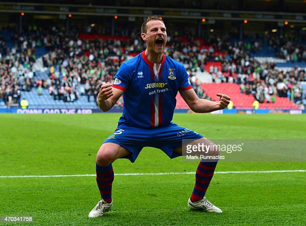 Gary Warren of Inverness Caledonian Thistle celebrates his teams victory over Celtic at full time during the William Hill Scottish Cup Semi Final...