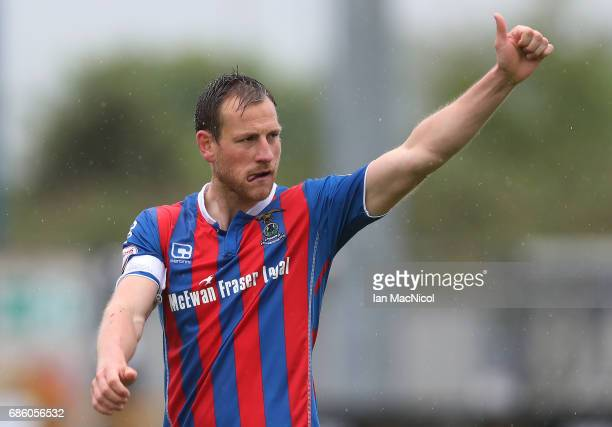 Gary Warren of Inverness Caledonian Thistle reacts at full time during the Ladbrokes Premiership match between Inverness Caledonian Thistle and...