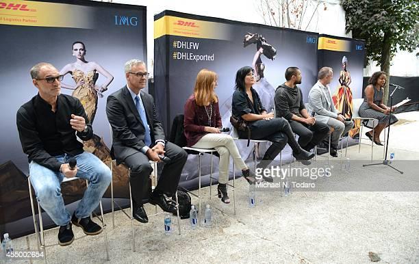 Gary Wassner, Karsten Aufgebauer, Nicole Miller, Nicholas Kunz, Christopher Kunz, Jarrad Clark and Teri Agins attend the DHL Fashion Industry Panel...
