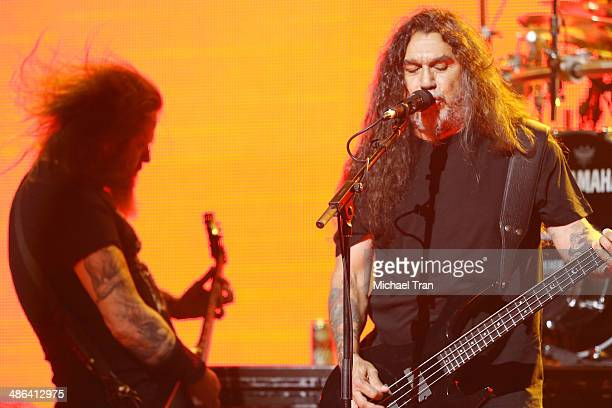 Gary Wayne Holt and Tom Araya of Slayer perform onstage during the 6th Annual Revolver Golden Gods Award Show held at Club Nokia on April 23 2014 in...