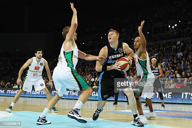 Gary Wilkinson of the Breakers looks to shoot during game three of the NBL Finals series between the Townsville Crocodiles and the New Zealand...