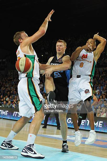 Gary Wilkinson of the Breakers passes the ball out during game three of the NBL Finals series between the Townsville Crocodiles and the New Zealand...