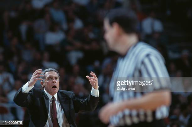 Gary Williams, Head Coach for the University of Maryland Terrapins gestures towards the referee during the NCAA Division I Men's Atlantic Coast...