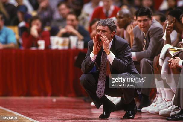 Gary WIlliams head coach of the Maryland Terrapins during a college basketball game against the Loyola Greyhounds on December20 1994 at Cole Field...