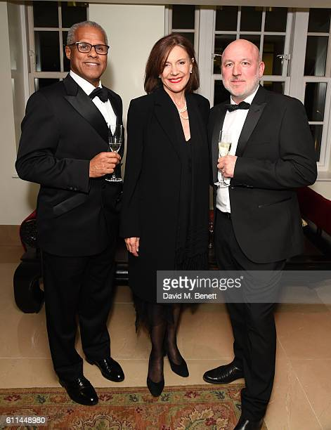 Gary Wilmot Belinda Lang and Dominic Carter attend the Ovalhouse Fundraising Gala at The May Fair Hotel on September 29 2016 in London England