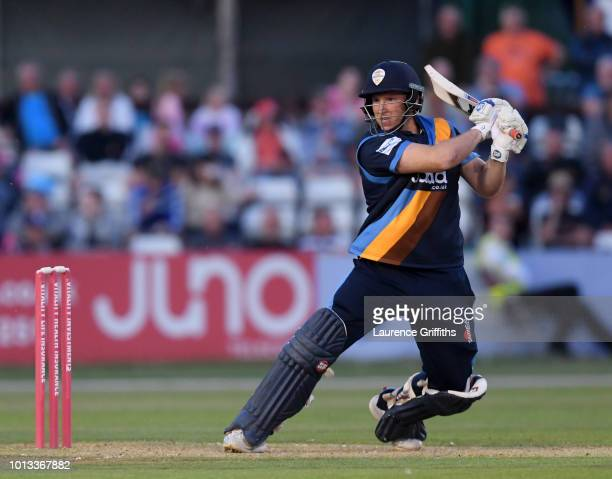 Gary Wilson of Derbyshire Falcons hits a boundary during the Vitality Blast match between Derbyshire Falcons and Northampton Steelbacks at The 3aaa...