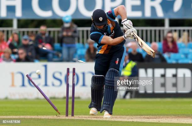 Gary Wilson of Derbyshire Falcons is bowled by Dieter Klein of Leicestershire Foxes during the Natwest T20 Blast match between Derbyshire Falcons and...