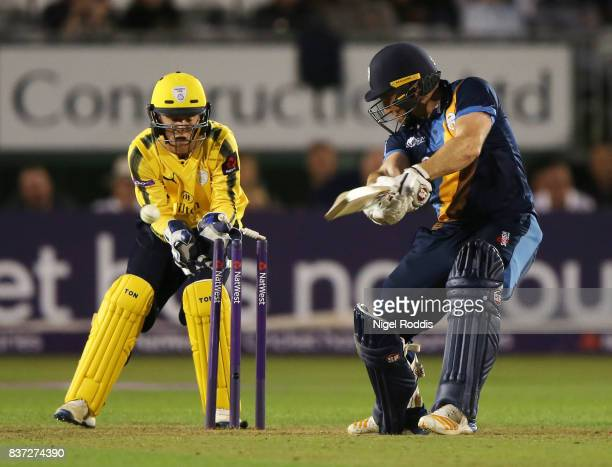 Gary Wilson of Derbyshire Falcons is bowled out by Liam Dawson of Hampshire during the NatWest T20 Blast at The 3aaa County Ground on August 22 2017...