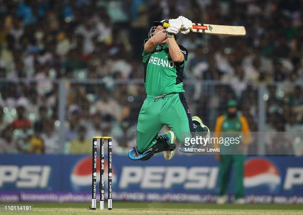Gary Wilson of Ireland looks to play a shot during the 2011 ICC World Cup Group B match between Ireland and South Africa at Eden Gardens on March 15...