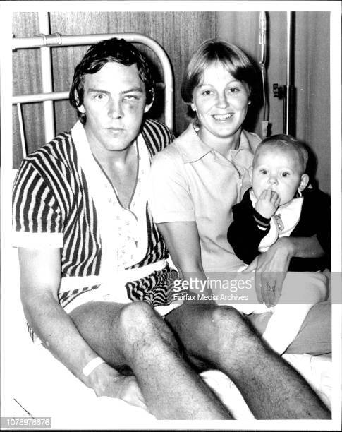 Gary with his wife Karen and son Scott 8 monthsRL player Gary Pethybridge with facial and bone injury in St George Hospital Kogarah March 13 1978