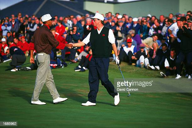 Gary Wolsteholme shaking hands with Tiger Woods after his singles win over Tiger Woods during the Walker Cup Match at The Royal Porthcawl golf course...