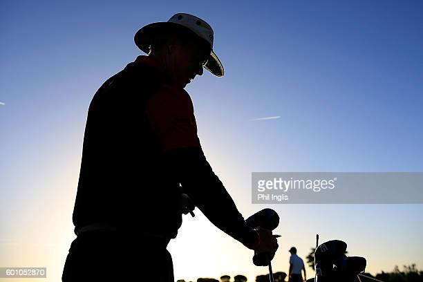 Gary Wolstenholme of England in action during the first round of the Paris Legends Championship played on L'Albatros course at Le Golf National on...