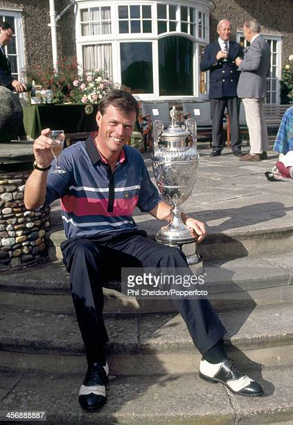 Gary Wolstenholme of Great Britain with the trophy after winning the Amateur Golf Championship held at the Ganton Golf Club Yorkshire circa June 1991