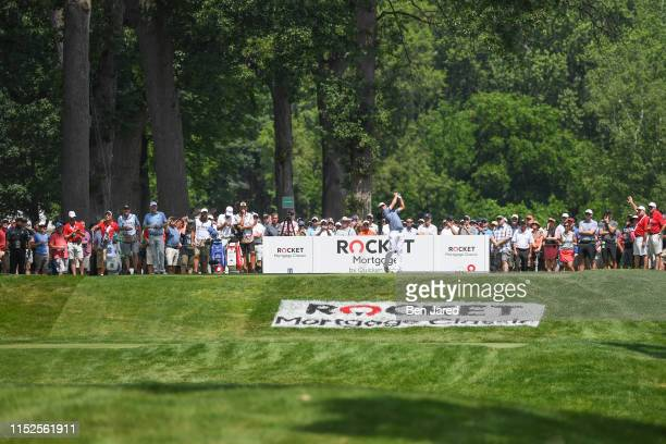Gary Woodland hits a shot on the ninth tee box during the second round of the Rocket Mortgage Classic at Detroit Golf Club on June 28, 2019 in...