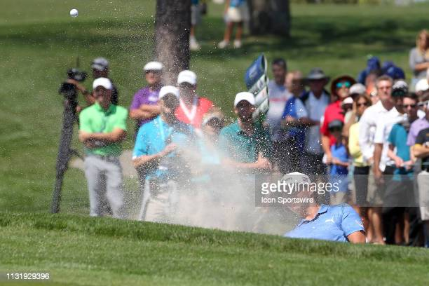Gary Woodland hits out of a green side bunker during the first round of the Valspar Championship on March 21 at Westin Innisbrook-Copperhead Course...