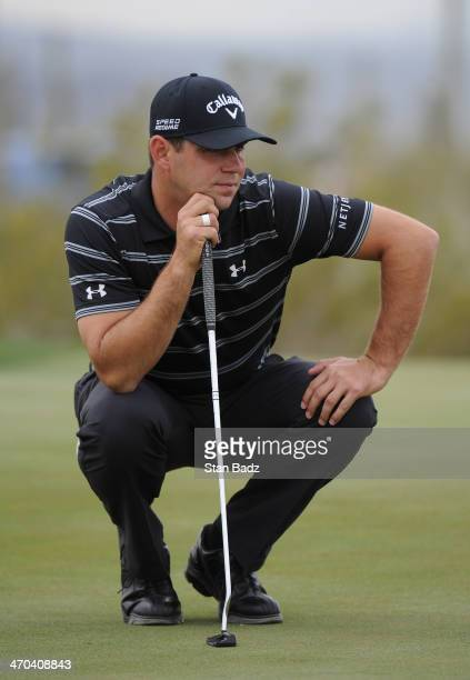 Gary Woodland looks over the green on the first hole during the first round of the World Golf Championships Accenture Match Play Championship at The...