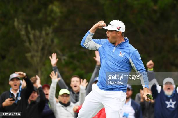 Gary Woodland of the United States celebrates a par-saving putt on the 12th green during the third round of the 2019 U.S. Open at Pebble Beach Golf...