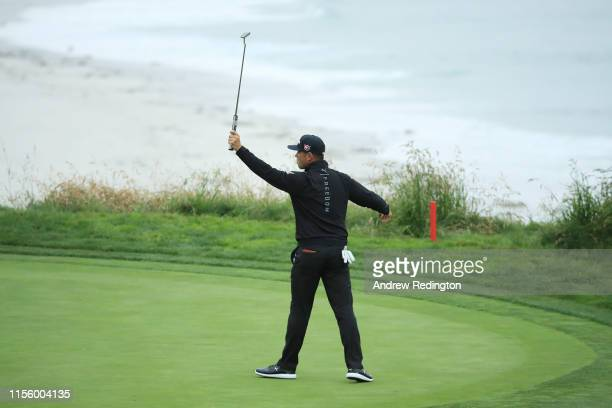 Gary Woodland of the United States celebrates making a putt for birdie on the ninth hole during the second round of the 2019 US Open at Pebble Beach...