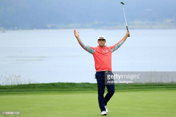 Gary Woodland of the United States celebrates on the 18th green after winning the 2019 US Open at Pebble Beach Golf Links on June 16 2019 in Pebble...