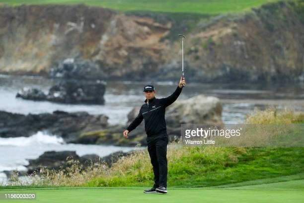 Gary Woodland of the United States celebrates on the ninth green during the second round of the 2019 US Open at Pebble Beach Golf Links on June 14...