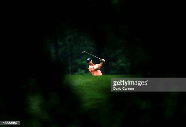 Gary Woodland of the United States hits his second shot on the 12th hole during the second round of the 96th PGA Championship at Valhalla Golf Club...