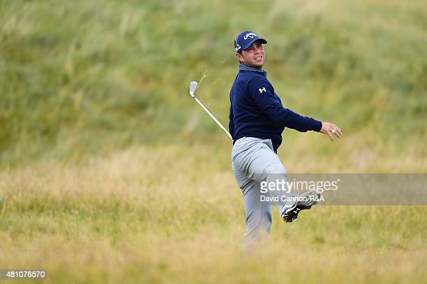 Gary Woodland of the United States hits his second shot on the 12th hole during the second round of the 144th Open Championship at The Old Course on...