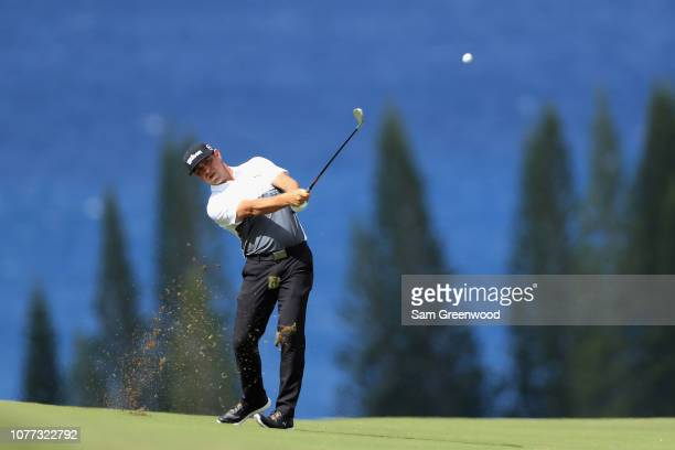 Gary Woodland of the United States plays a shot on the fourth hole during the second round of the Sentry Tournament of Champions at the Plantation...