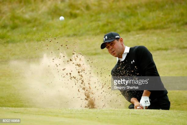 Gary Woodland of the United States plays from a bunker on the 7th hole during the second round of the 146th Open Championship at Royal Birkdale on...