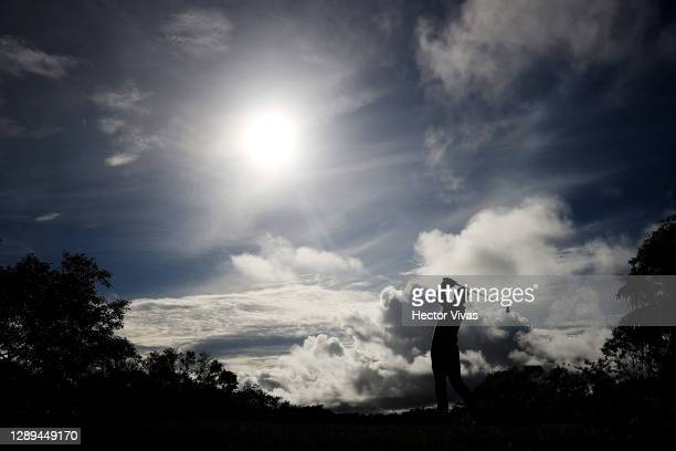 Gary Woodland of the United States plays his shot from the 11th tee during the second round of the Mayakoba Golf Classic at El Camaleón Golf Club on...