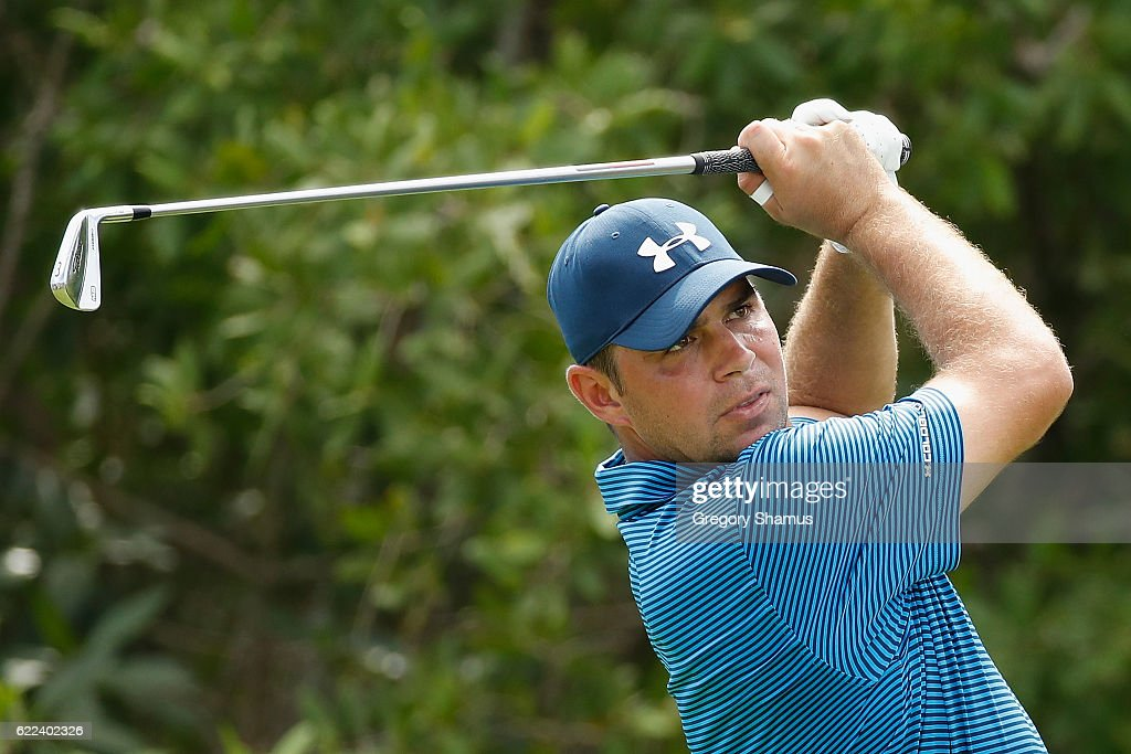 Gary Woodland of the United States plays his shot from the 17th tee during the second round of the OHL Classic at Mayakoba on November 11, 2016 in Playa del Carmen, Mexico.