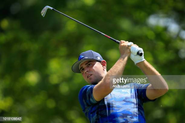 Gary Woodland of the United States plays his shot from the second tee during the third round of the 2018 PGA Championship at Bellerive Country Club...