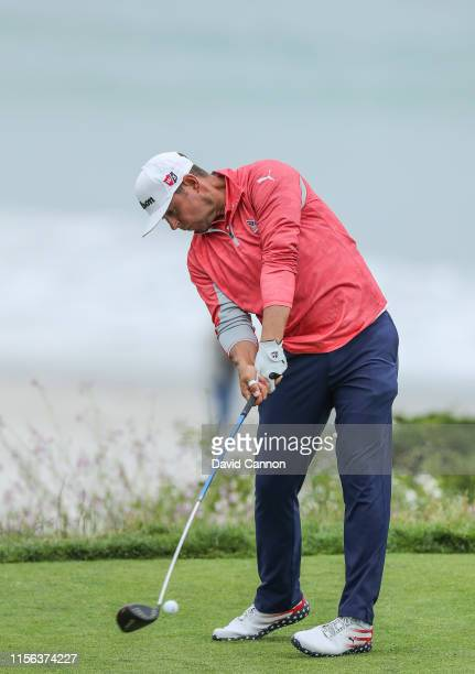 Gary Woodland of the United States plays his tee shot on the par 4 11th hole during the final round of the 2019 USOpen Championship at the Pebble...