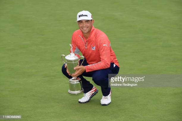 Gary Woodland of the United States poses with the trophy after winning the 2019 US Open at Pebble Beach Golf Links on June 16 2019 in Pebble Beach...