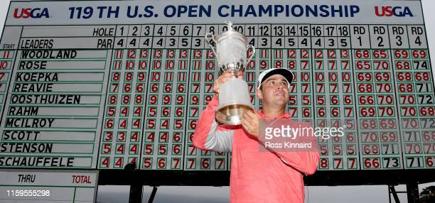 Gary Woodland of the United States poses with the trophy after winning the 2019 U.S. Open at Pebble Beach Golf Links on June 16, 2019 in Pebble...