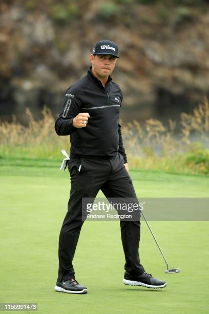 Gary Woodland of the United States reacts after a birdie on the fifth hole during the second round of the 2019 US Open at Pebble Beach Golf Links on...