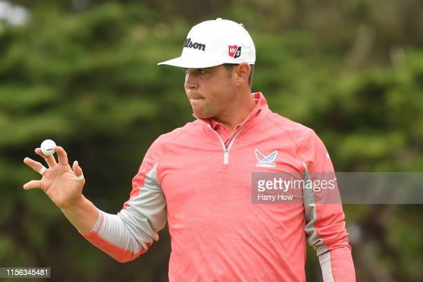 Gary Woodland of the United States reacts after a birdie on the third green during the final round of the 2019 US Open at Pebble Beach Golf Links on...