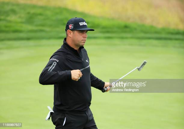 Gary Woodland of the United States reacts after a parsaving putt on the eighth hole during the second round of the 2019 US Open at Pebble Beach Golf...