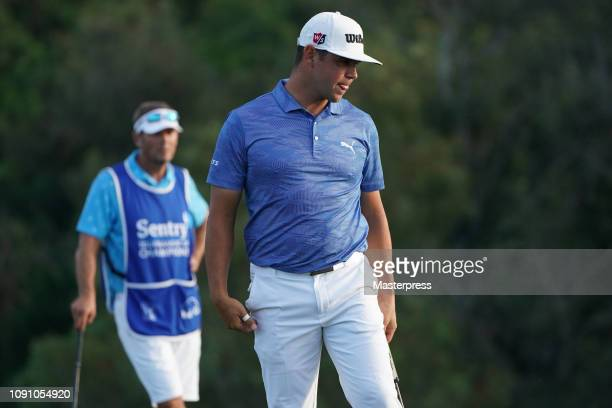 Gary Woodland of the United States reacts after the final round of the Sentry Tournament of Champions at the Plantation Course at Kapalua Golf Club...