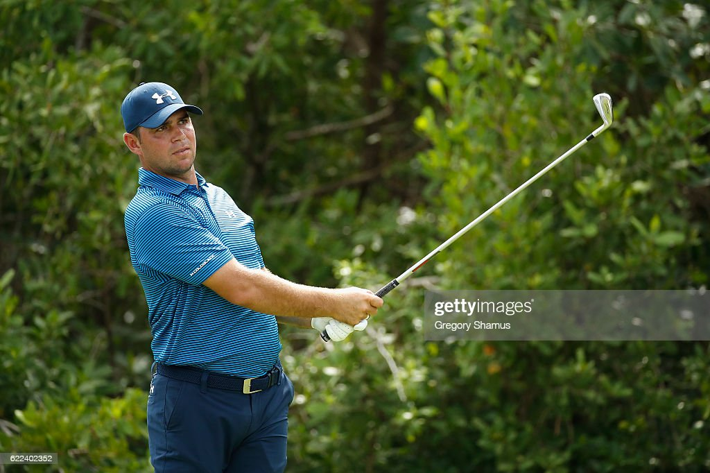 Gary Woodland of the United States watches his shot from the 17th tee during the second round of the OHL Classic at Mayakoba on November 11, 2016 in Playa del Carmen, Mexico.