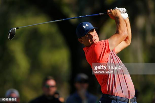 Gary Woodland plays his shot from the 14th tee during the second round of the Valspar Championship at Innisbrook Resort Copperhead Course on March 9...