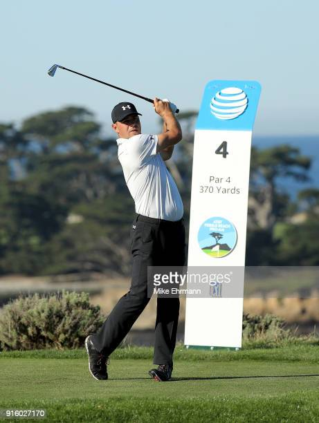 Gary Woodland plays his shot from the fourth tee during Round One of the ATT Pebble Beach ProAm at Spyglass Hill Golf Course on February 8 2018 in...