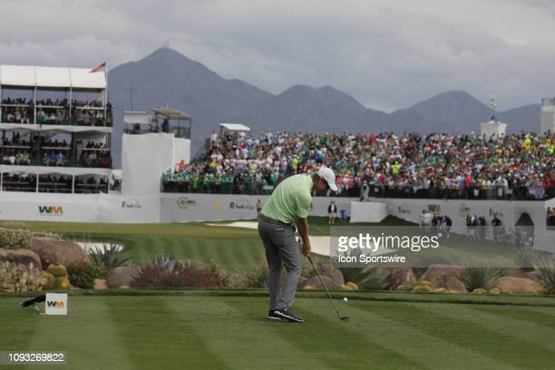 Gary Woodland tees off on the 16th hole during the third round of the Waste Management Phoenix Open on February 02 at TPC Scottsdale in Scottsdale,...