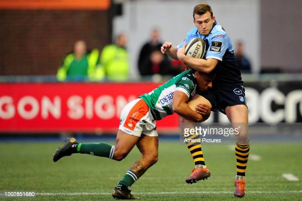 Garyn Smith of Cardiff Blues is tackled by Charly Trussardi of Benetton Treviso during the Guinness Pro14 Round 12 match between the Cardiff Blues...