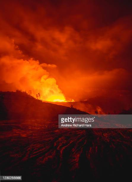 Gas and steam erupt from the Halemaumau Crater of the Kilauea Volcano on December 21, 2020 in Hawaii Volcanoes National Park, Hawaii. The Kilauea...